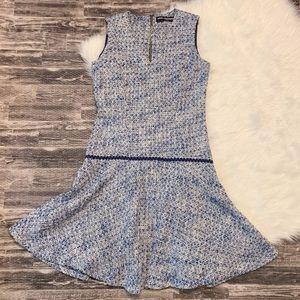 Karl Lagerfeld Paris Blue Drop Waist Tweed Dress